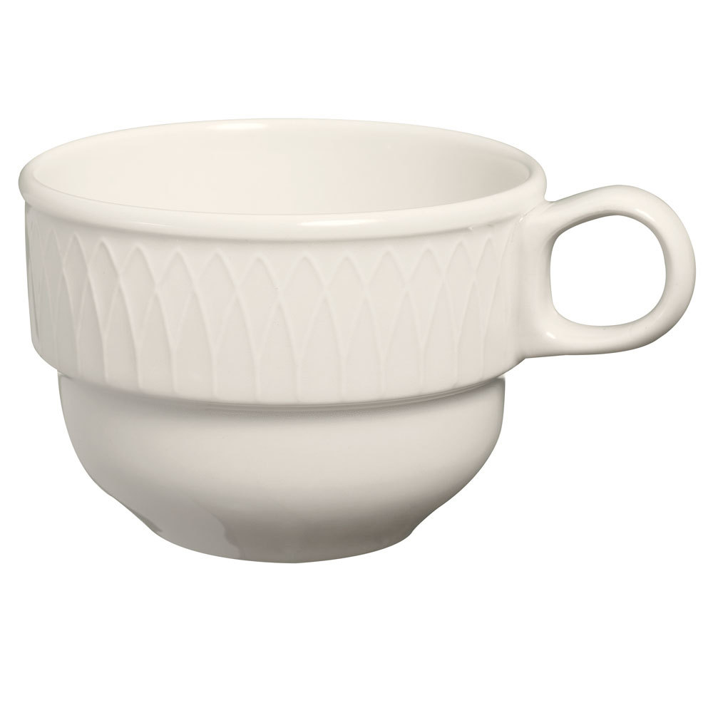 Homer Laughlin 7000-0314 Gothic 7.5 oz. American White (Ivory / Eggshell) Undecorated Stacking Cup - 36 / Case