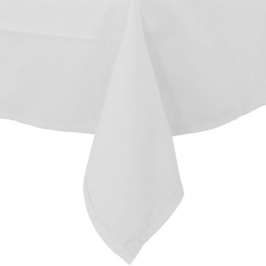 "54"" x 114"" White 100% Polyester Hemmed Cloth Table Cover"