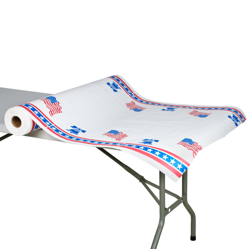 "40"" x 300' Paper Table Cover with Patriotic Pattern"