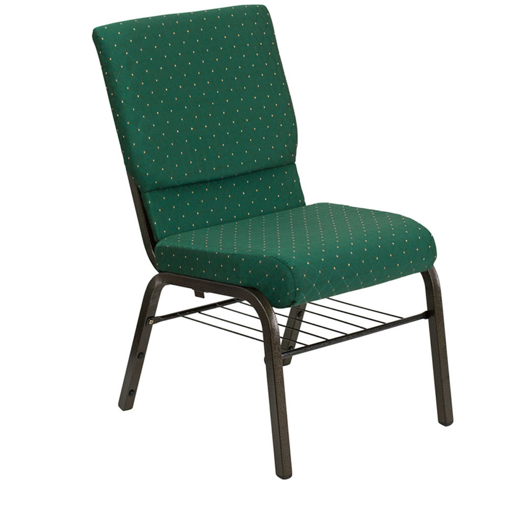 "Green Dot Patterned 18 1/2"" Wide Church Chair with Communion Cup Book Rack - Gold Vein Frame"