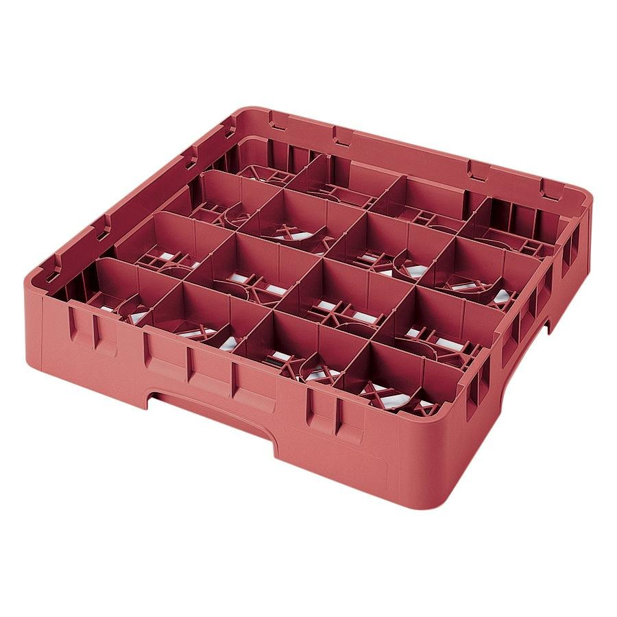 "Cambro 16S434-416 Camrack 5 1/4"" High Red 16 Compartment Glass Rack"