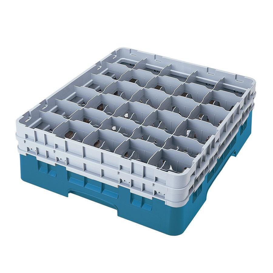 "Cambro 30S638414 Camrack Teal 30 Compartment 6 7/8"" Glass Rack"