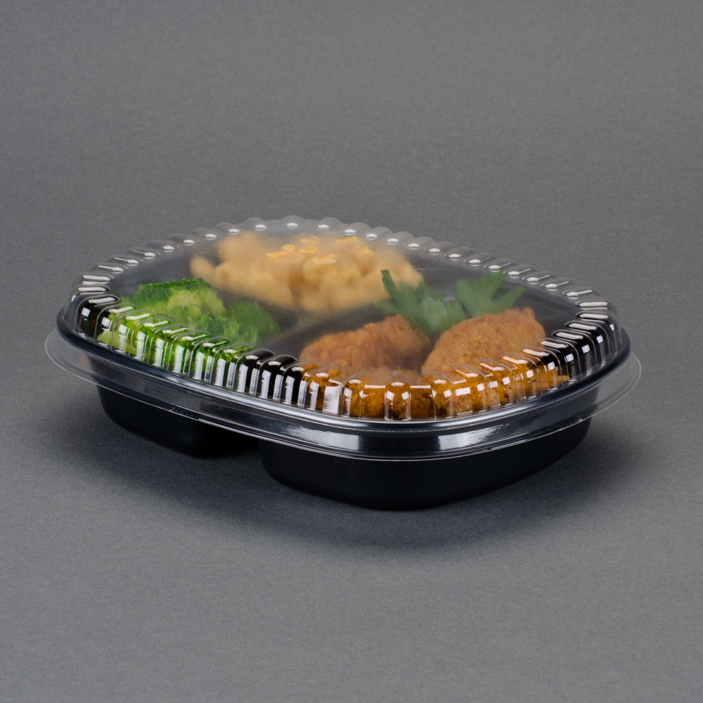 "Genpak 55027 Dual Ovenable 3-Compartment Food Pan with Lid - 8 1/2"" x 6 5/8"" x 1 5/8"" - 10 / Pack"