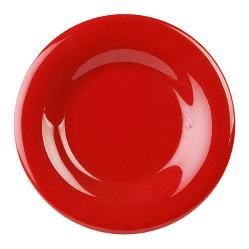"11 3/4"" Pure Red Wide Rim Melamine Plate - 12/Pack"