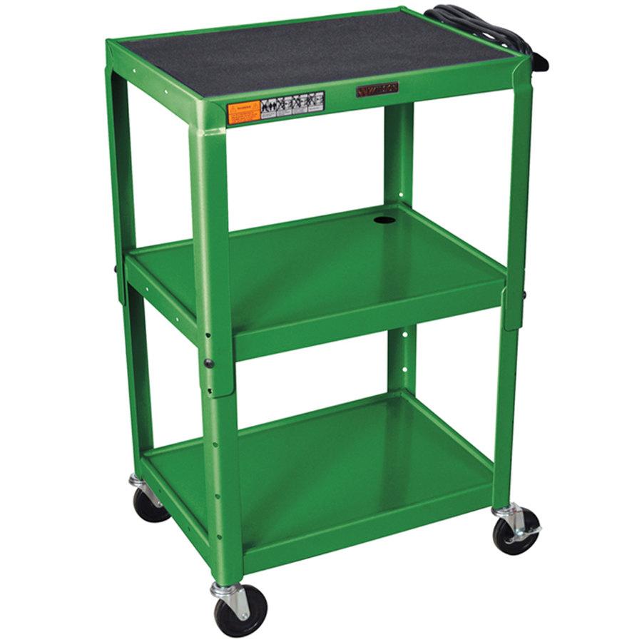 Metal Utility Cart: Luxor / H. Wilson W42AGE Green Metal 3 Shelf A/V Utility