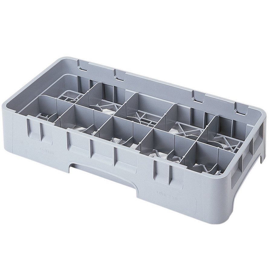 "Cambro 10HS318151 Soft Gray Camrack 10 Compartment 3 5/8"" Half Size Glass Rack"