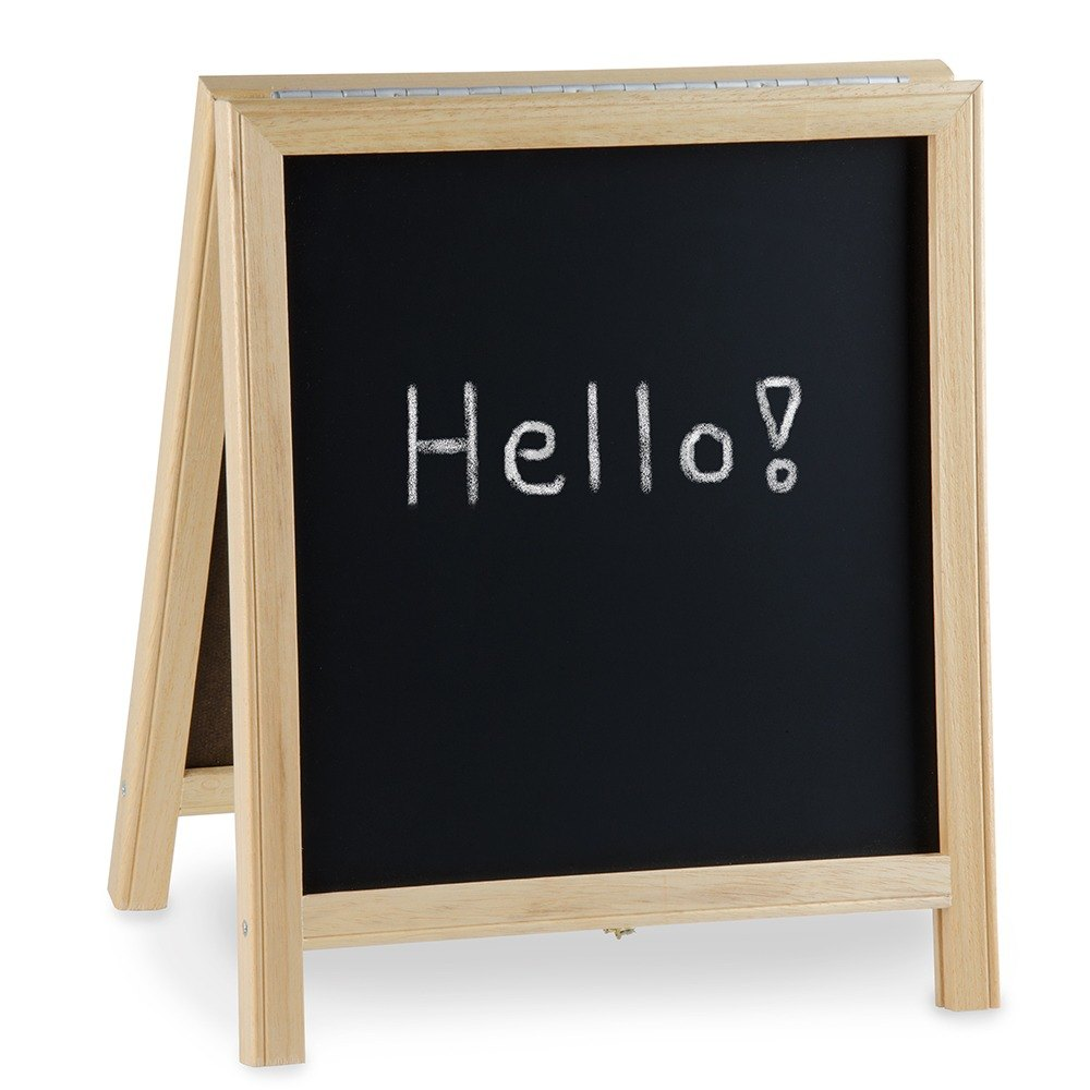 "Aarco 14"" x 12"" Tabletop A-Frame Sign with Black Chalkboard"
