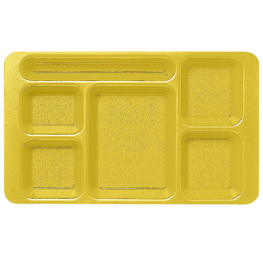 "Cambro 1596CP145 (2 x 2) 9"" x 15"" Yellow Six Compartment Serving Tray - 24/Case"