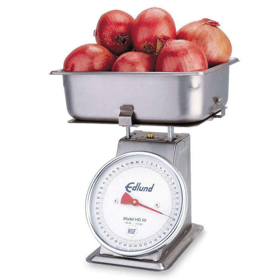 Edlund HD-50P Heavy Duty 50 lb. Produce Portion Control Scale with Cradle and 4 inch Half Pan