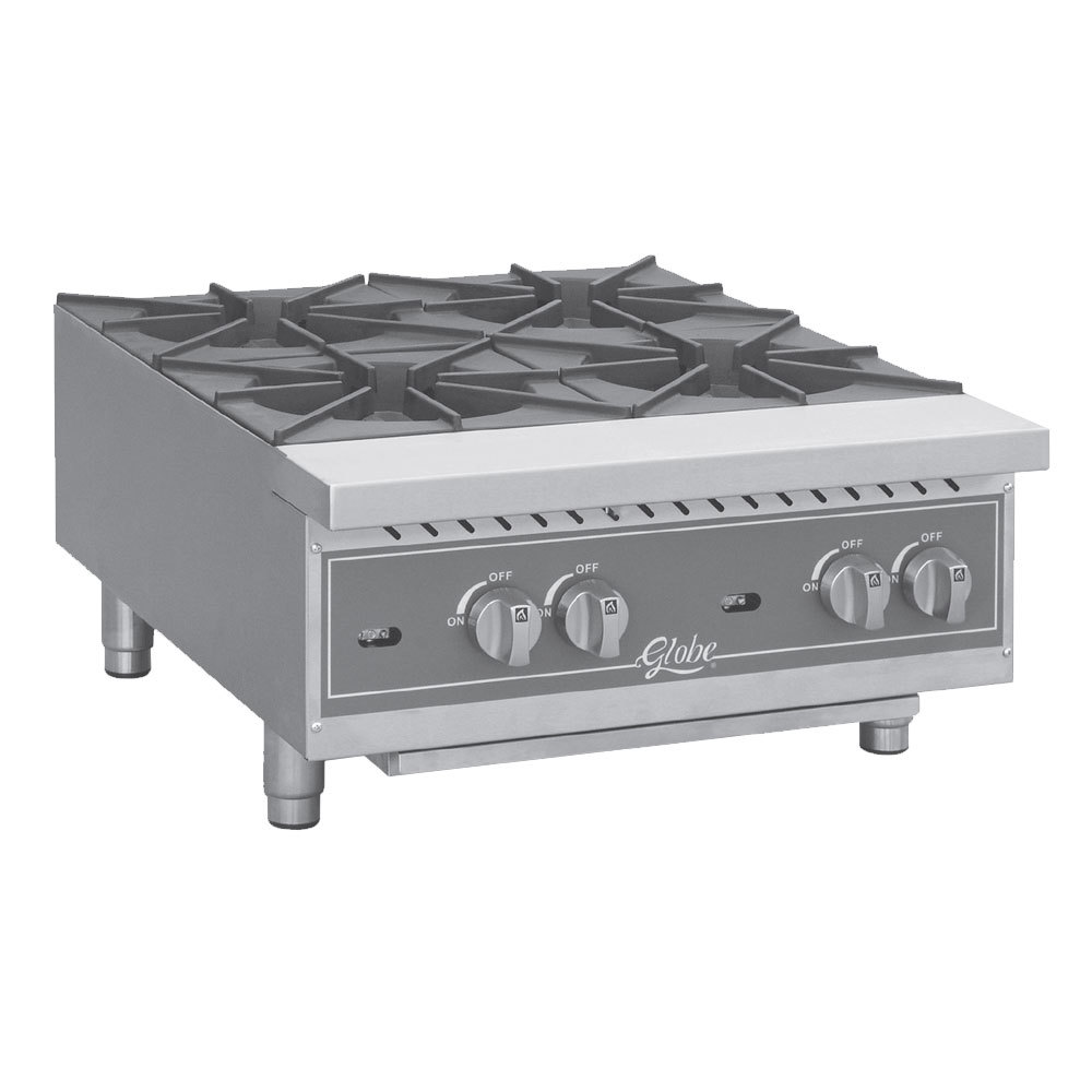 "Globe GHP36G 36"" Countertop Gas Hot Plate - 132,000 BTU"