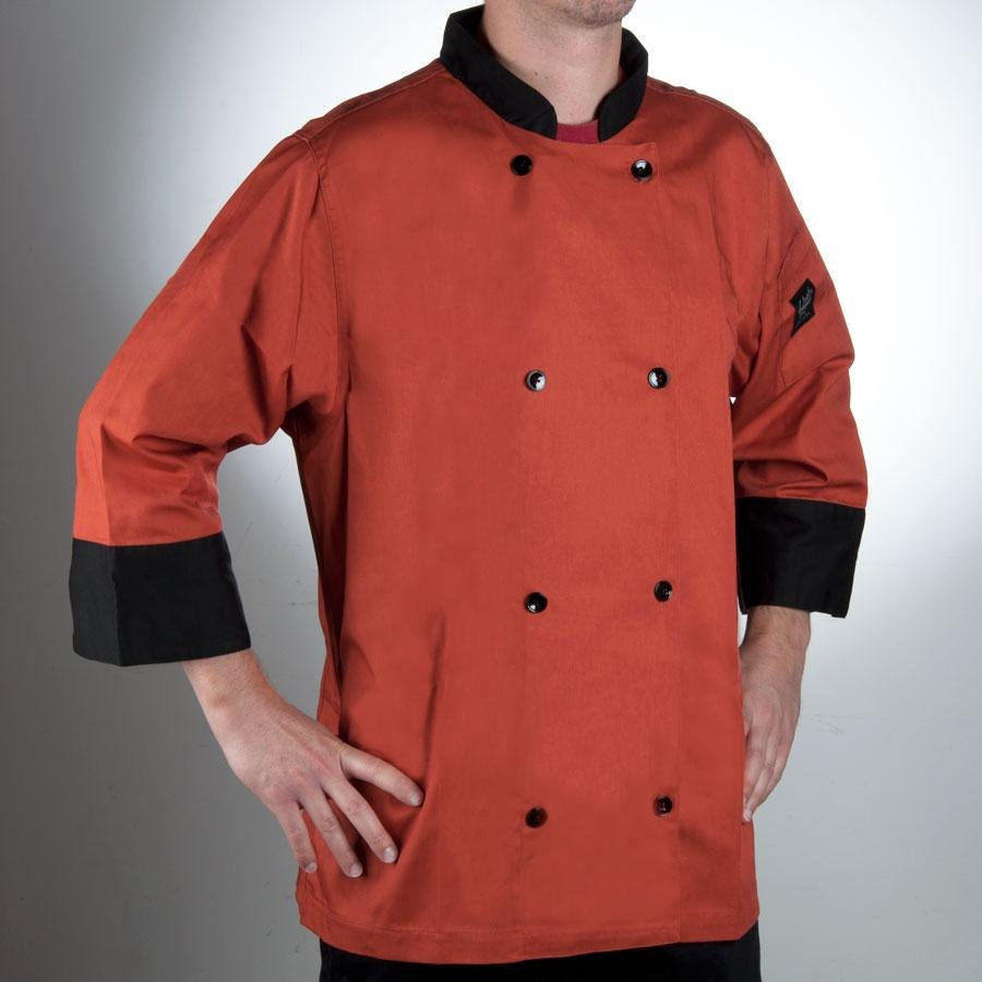 Chef Revival J134SP-M Cool Crew Fresh Size 42 (M) Spice Orange Customizable Chef Jacket with 3/4 Sleeves - Poly-Cotton
