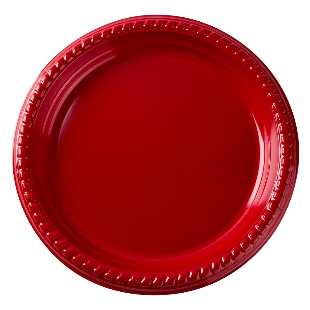 "Dart Solo PS95R-0099 9"" Red Plastic Plate - 500/Case"