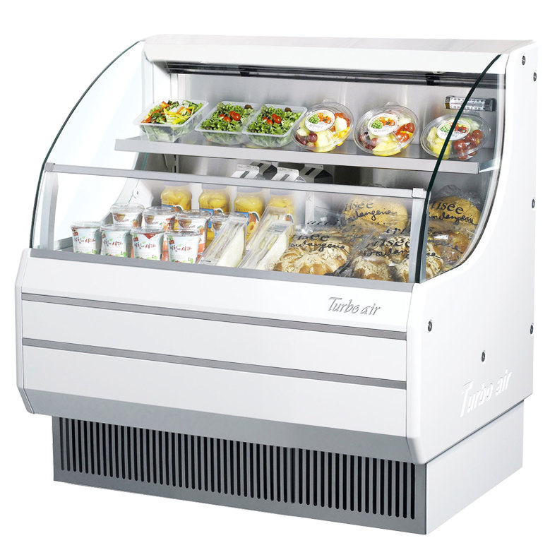 "Turbo Air TOM-40L White 39"" Low Profile Horizontal Air Curtain Display Case - 8.8 Cu. Ft."