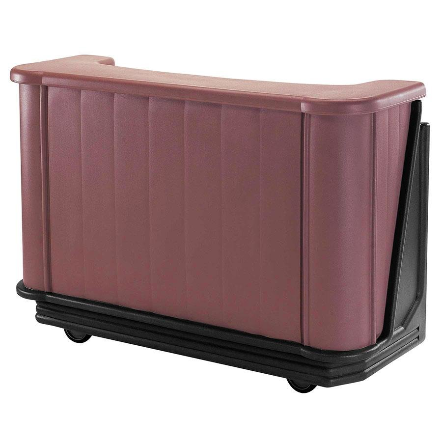 "Cambro BAR650DX189 Two-Tone Brown Mahogany Cambar 67"" Portable Bar with 7-Bottle Speed Rail, Cold Plate, and Pre-Mix System"