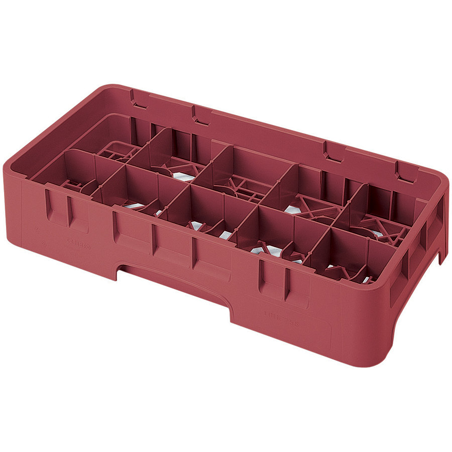 "Cambro 10HS800416 Cranberry Camrack 10 Compartment 8 1/2"" Half Size Glass Rack"