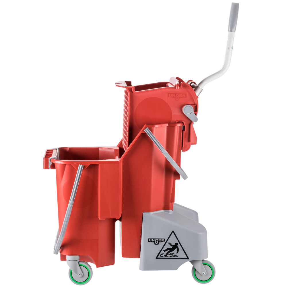 Unger Combr 8 Gallon Red Mop Bucket With Side Press Wringer