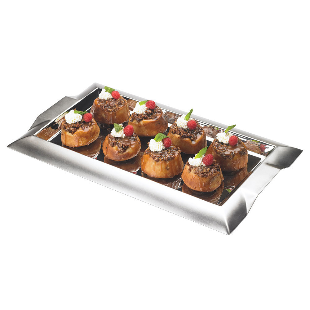 "Vollrath 82094 Rectangular Stainless Steel Serving Tray with Handles - 18"" x 10"""