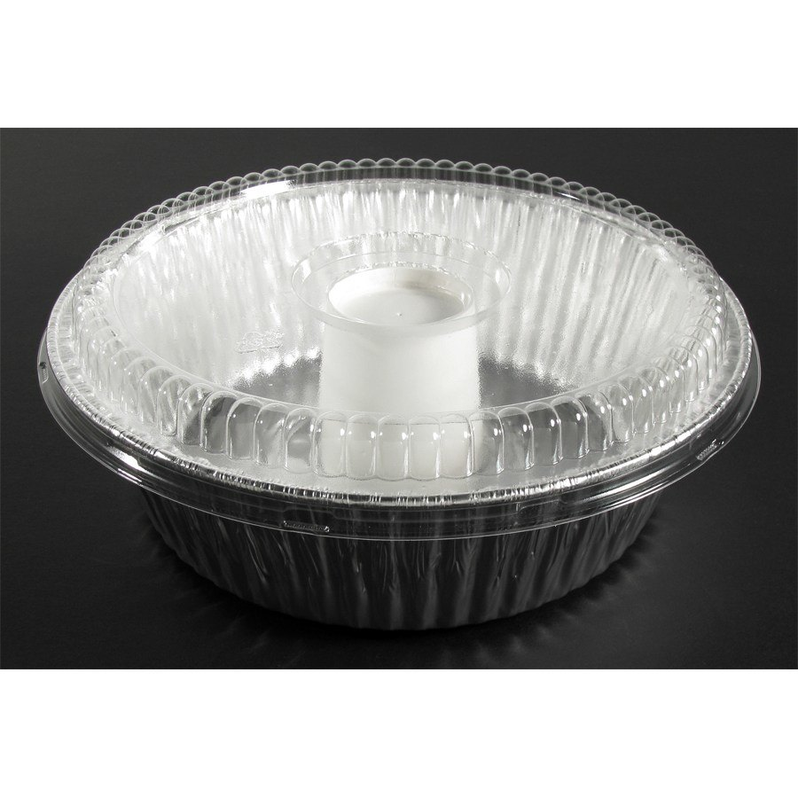 "D&;W Fine Pack D62 10"" Aluminum Foil Angel Food Pan with Clear Dome Lid - 10/Pack"