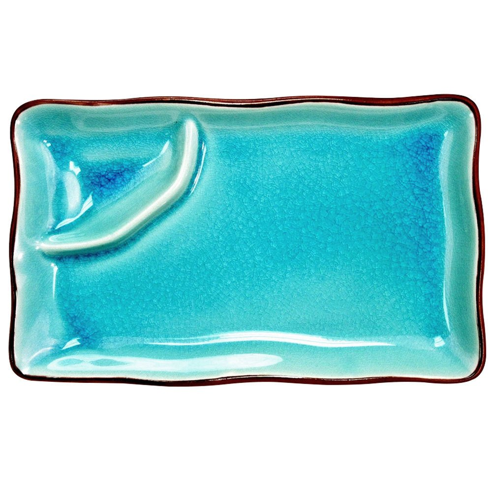 "CAC 666-77-BLU Japanese Style 8"" x 4"" Divided China Plate - Black Non-Glare Glaze / Lake Water Blue - 24/Case"