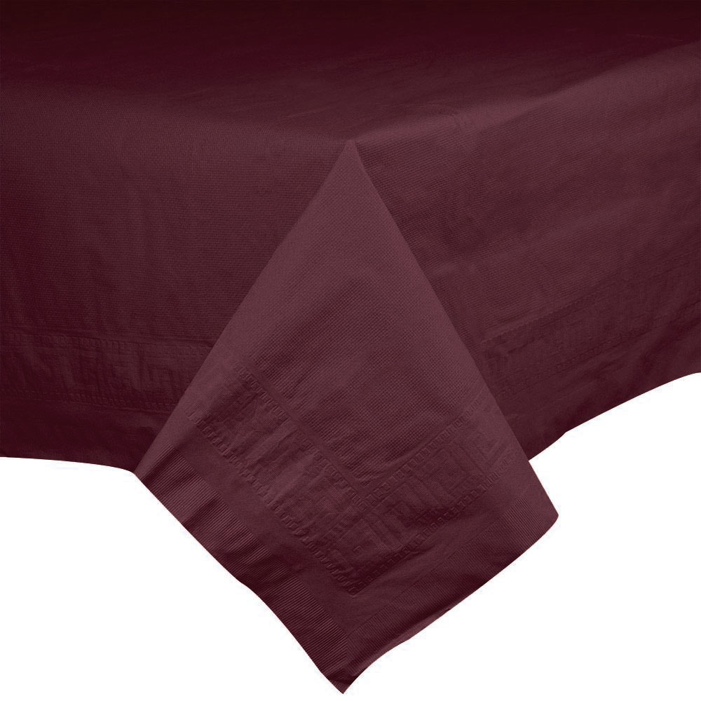 "Hoffmaster 220624 54"" x 108"" Cellutex Burgundy Tissue / Poly Paper Table Cover - 25/Case"