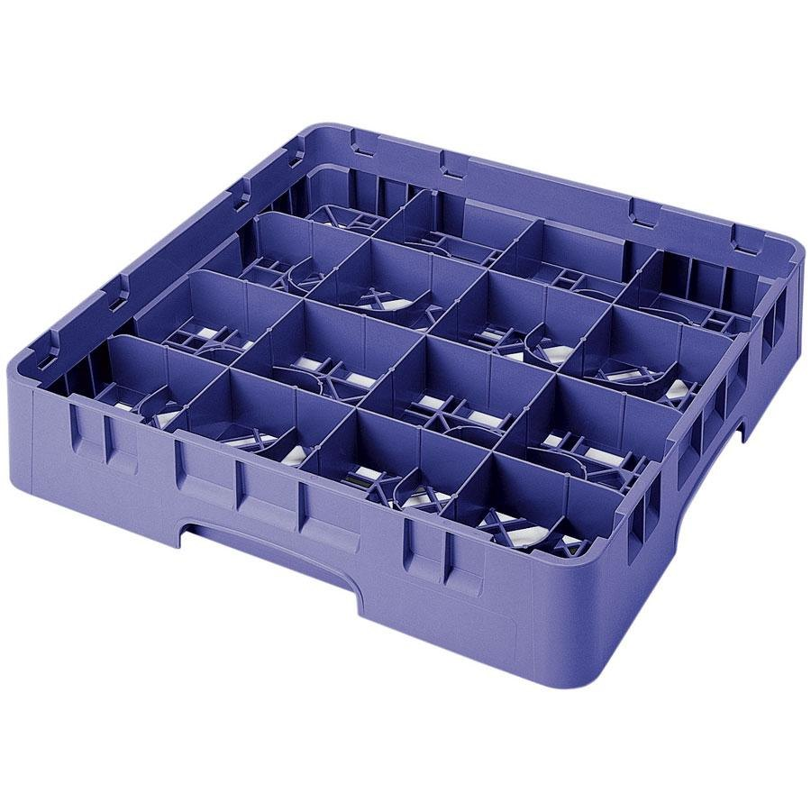 "Cambro 16S800186 Camrack 8 1/2"" High Navy Blue 16 Compartment Glass Rack"