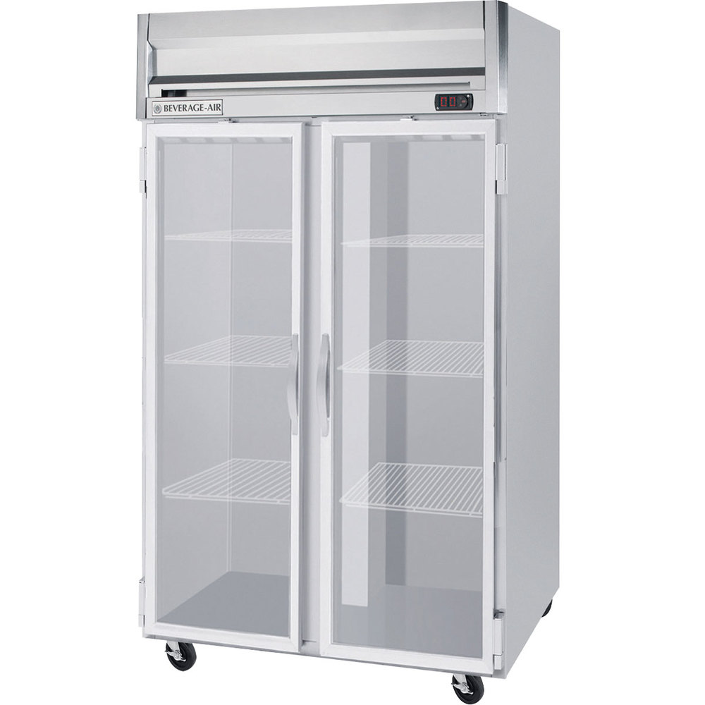 Beverage Air HR2-1G-LED 2 Section Glass Door Reach-In Refrigerator - 49 cu. ft., SS Front, Gray Exterior