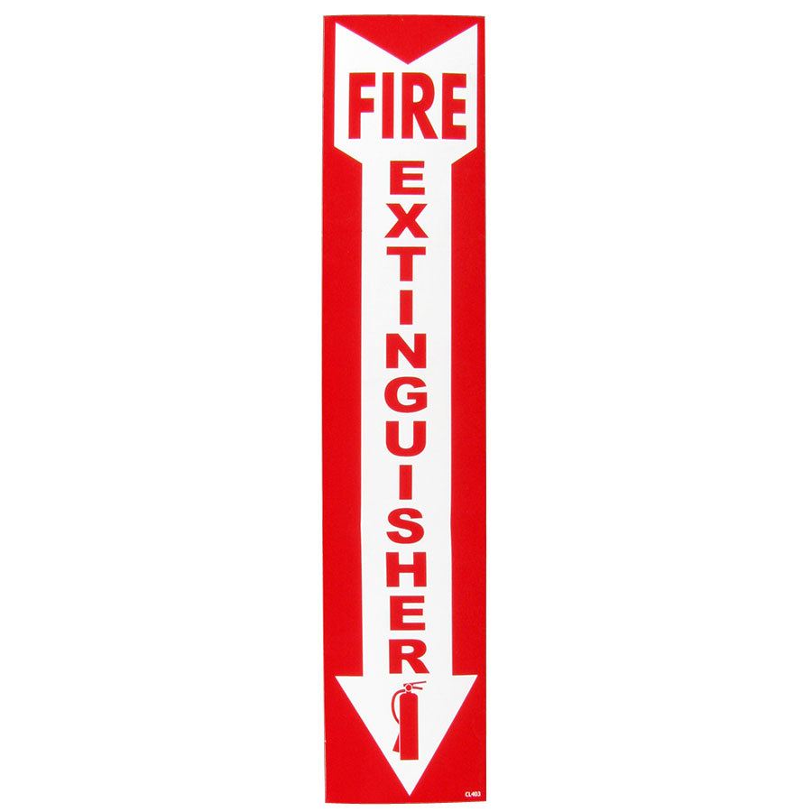 Fire Extinguisher Adhesive Label - 4 inch x 18 inch