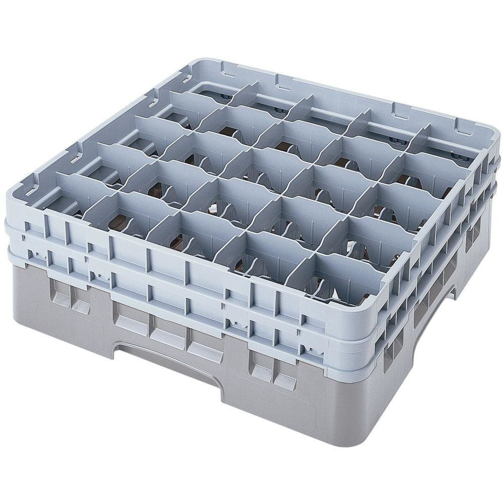 "Cambro 25S900151 Camrack 9 3/8"" High Soft Gray 25 Compartment Glass Rack"