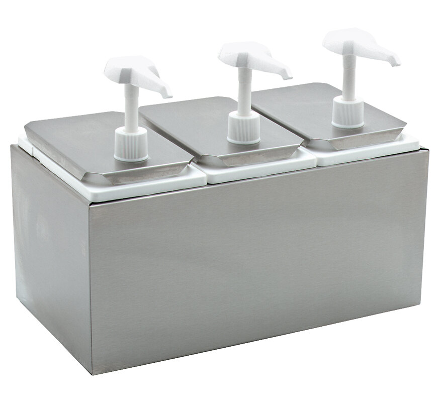 Carlisle 38503 Condiment Dispenser Rail with 3 Standard Pumps