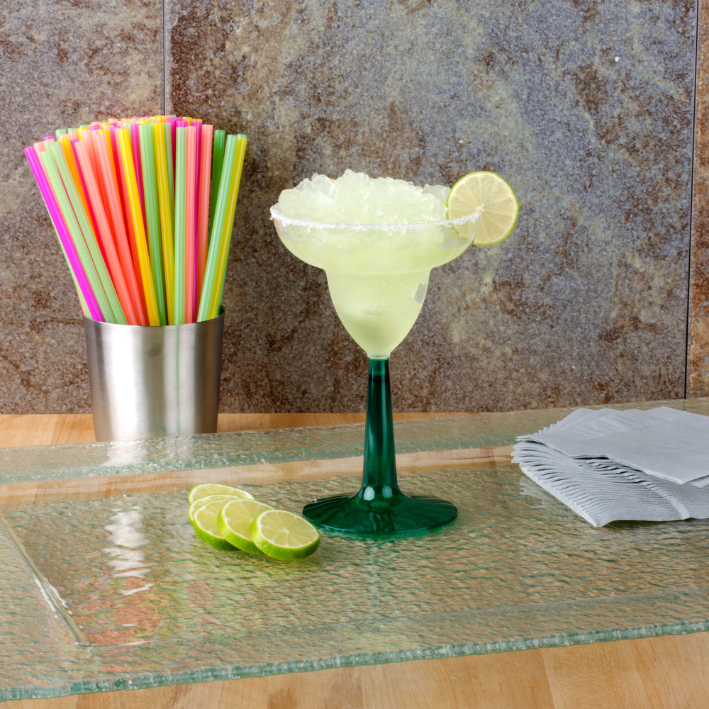 Fineline Flairware 2312-GRN 12 oz. Plastic Margarita with Green Base - 96/Case