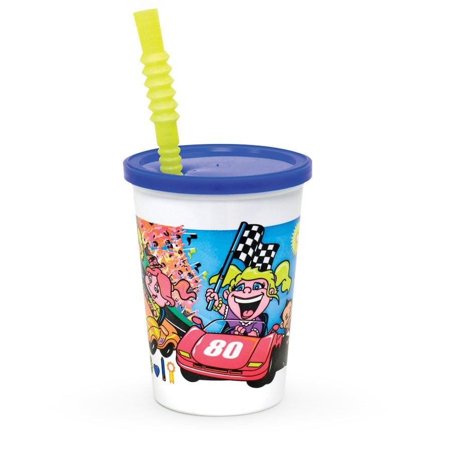 12 oz. Plastic Kids Cup - Race Car with Reusable Lid and Straw - 250/Case