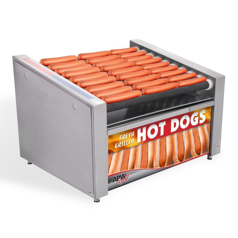 "APW Wyott HR-31SBC 24"" Hot Dog Roller Grill with Slanted Chrome Plated Rollers and Bun Cabinet - 120V at Sears.com"