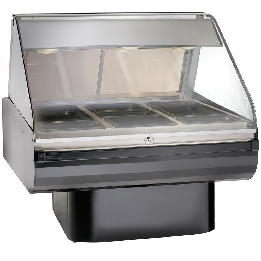 Alto-Shaam PD2SYS-48 SS Stainless Steel Heated Display Case with Curved Glass and Pedestal Base - Full Service 48""