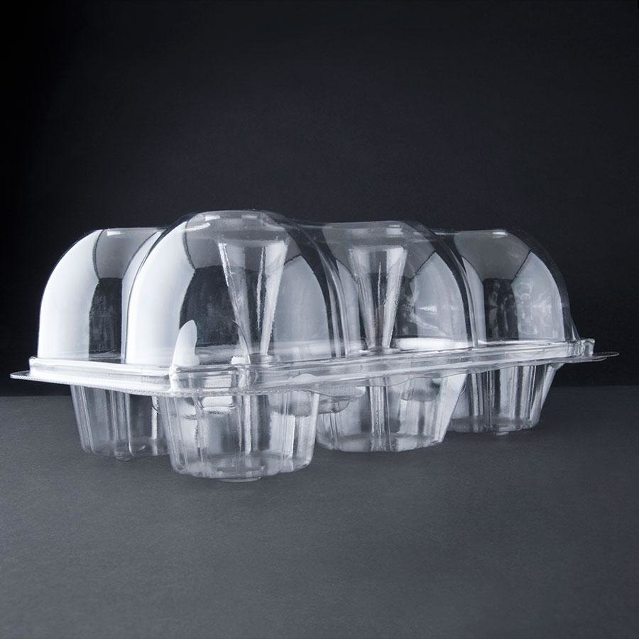6 Compartment Hinged High Dome Clear Cupcake Container - 5 / Pack