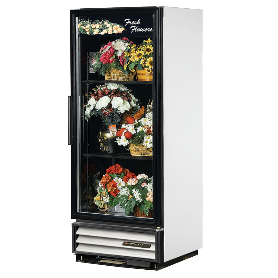 True GDM-12FC White Glass Door Floral Case - 12 Cu. Ft.