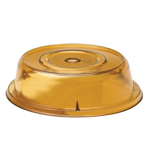 "Cambro 1202CW153 Camwear Amber Camcover 12 1/8"" Plate Cover - 12/Case"