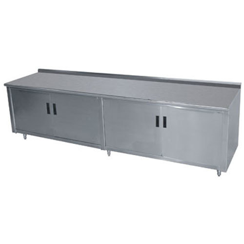 "Advance Tabco HF-SS-3610 36"" x 120"" 14 Gauge Enclosed Base Stainless Steel Work Table with Hinged Doors and 1 1/2"" Backsplash"