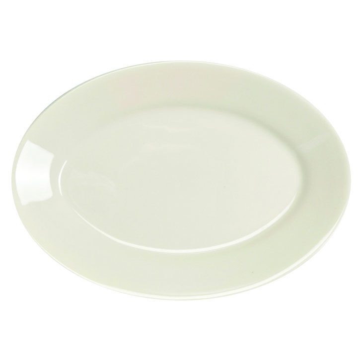 "Homer Laughlin 15500 11 3/4"" Ivory (American White) Rolled Edge Oval China Platter - 12/Case"