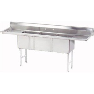 Advance Tabco FC-3-1515-15RL Three Compartment Stainless Steel Commercial Sink with Two Drainboards - 75 inch