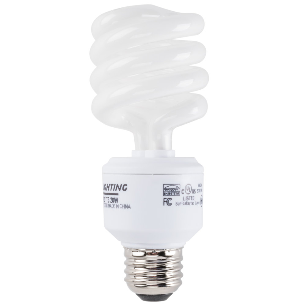 Mini lynx 20 watt 75 watt equivalent compact fluorescent energy saving light bulb 120v cfl t3 Light bulb wattage