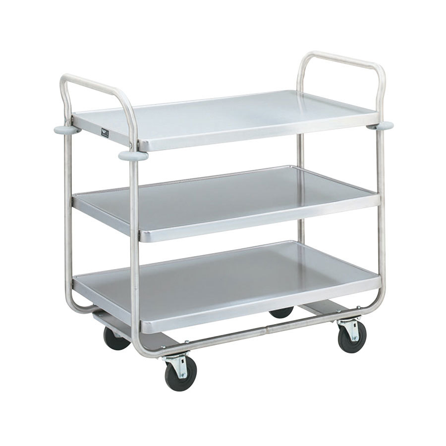 "Vollrath 97168 Caravelle Chrome 3 Shelf Tubular Cart - 37 1/2"" x 21"" x 35 1/2"""