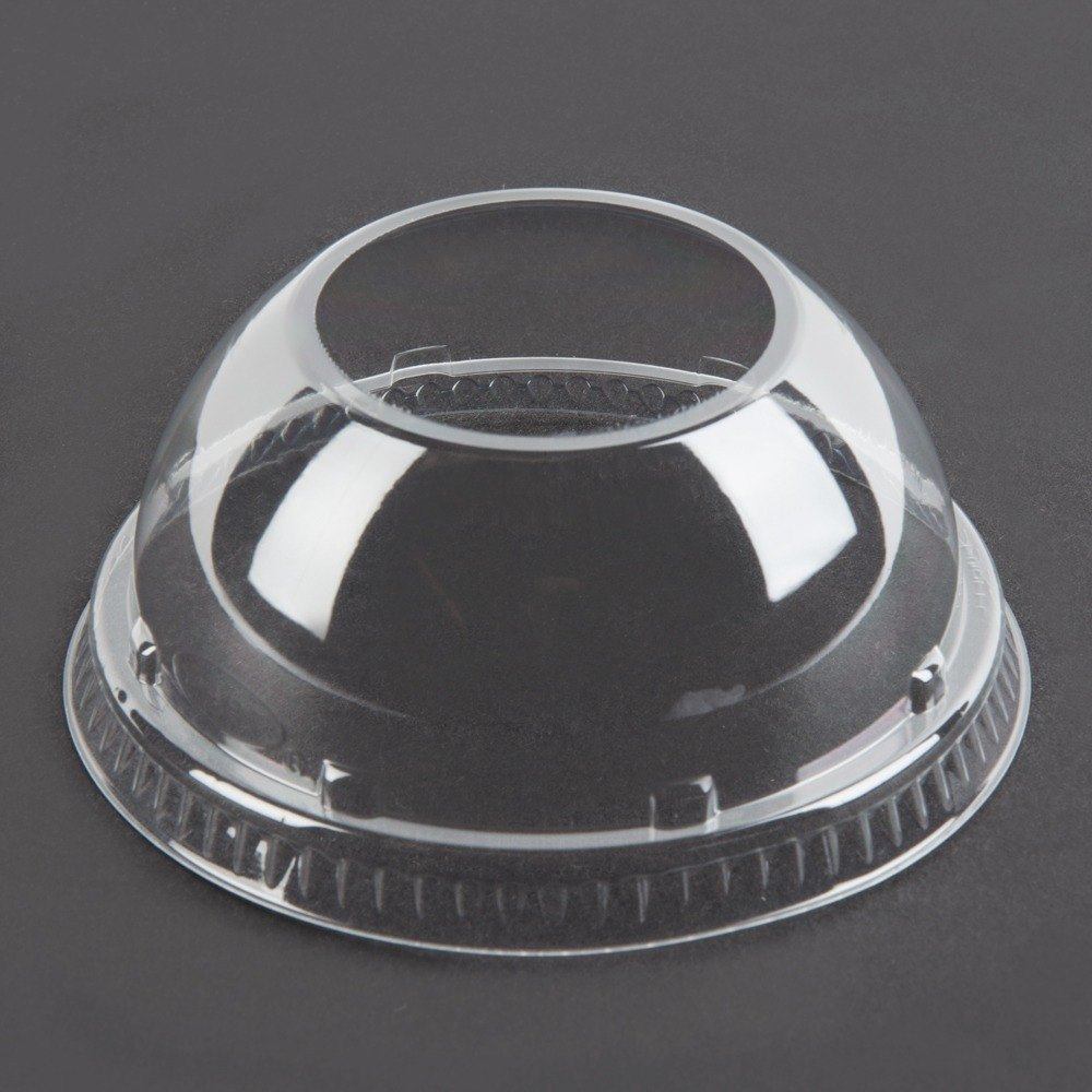 Dart Conex PET24LCDHX Clear PET Dome Lid with Hole 1000 / Case