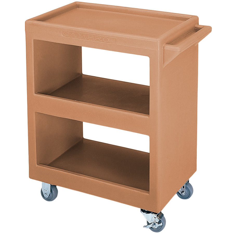 "Cambro BC225157 Coffee Beige Three Shelf Service Cart - 28"" x 16"" x 32 1/4"""