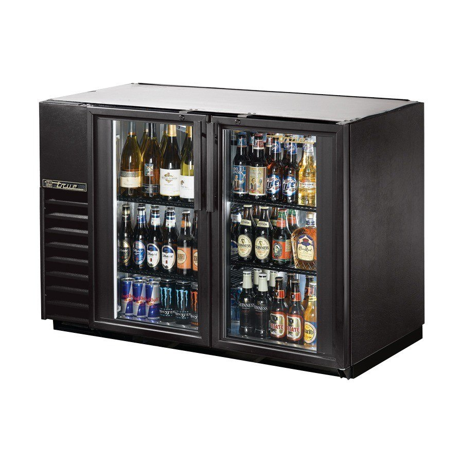 "True Refrigeration True TBB-24GAL-48G 49"" Under Bar Cooler with Galvanized Top and 2 Glass Doors - 24"" Deep at Sears.com"