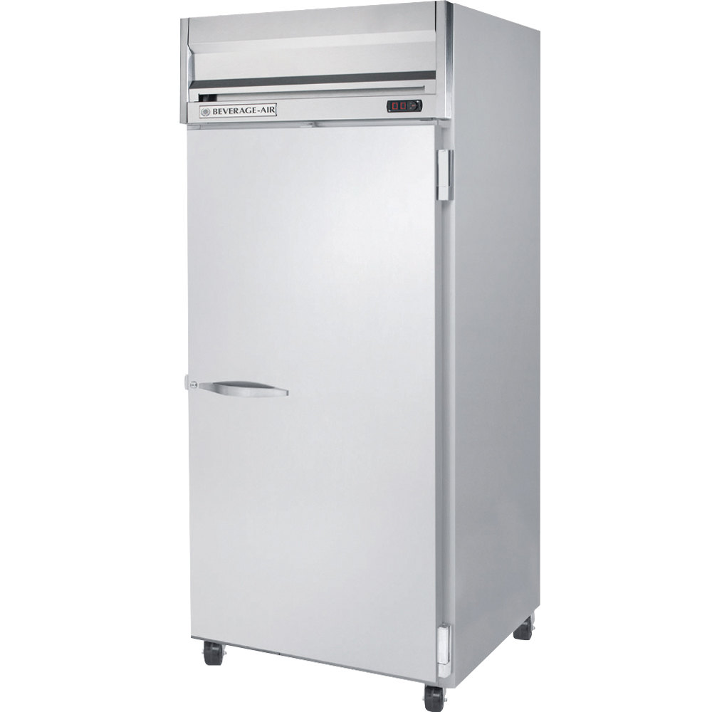 Beverage Air HRP1-1S 1 Section Solid Door Reach-In Refrigerator - 24 cu. ft., SS Exterior