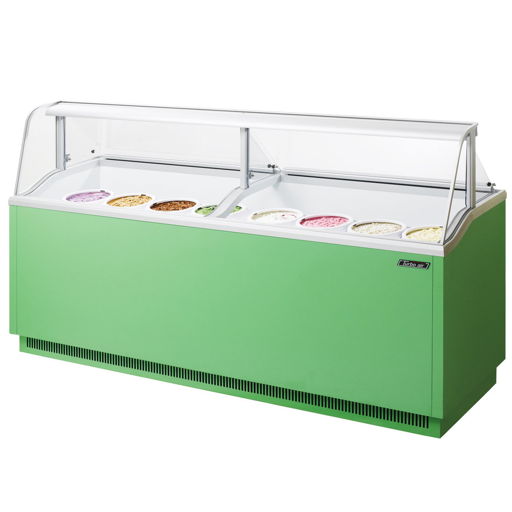 "Turbo Air TIDC-91G 91"" Green Low Curved Glass Ice Cream Dipping Cabinet"