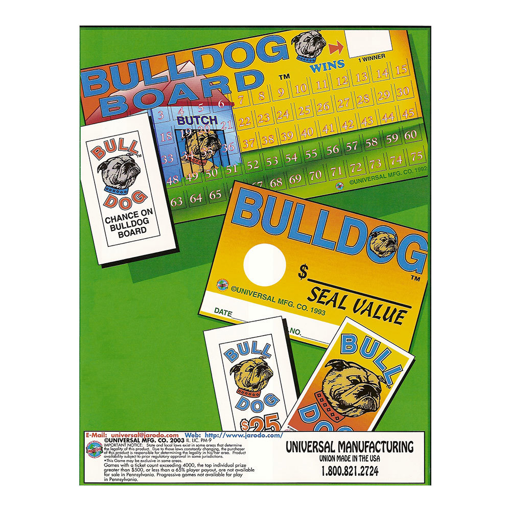 """Bulldog Board"" 1 Window Pull Tab Tickets - 240 Tickets Per Deal - Total Payout: $195 at Sears.com"