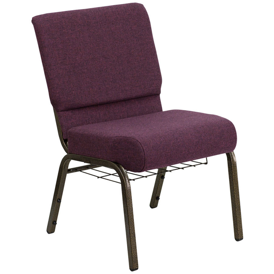 "Plum 21"" Extra Wide Church Chair with Communion Cup Book Rack - Gold Vein Frame"
