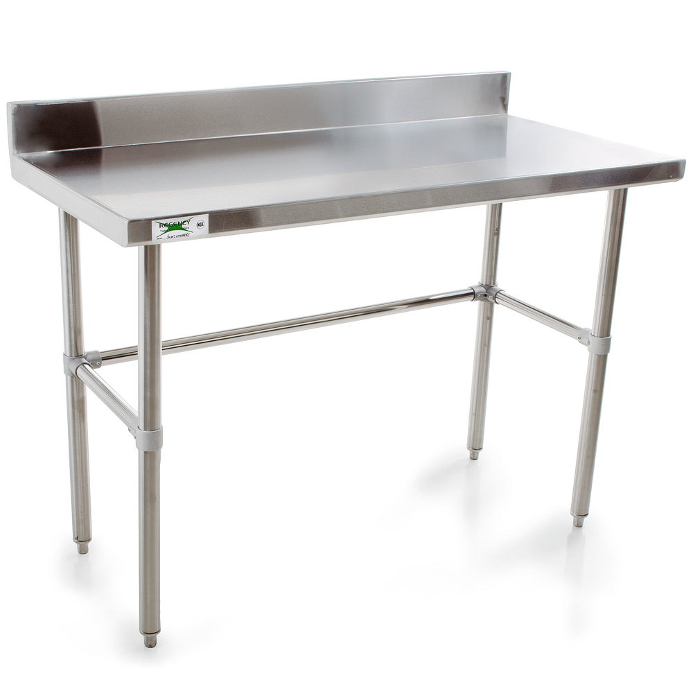 Regency 16 Gauge Stainless Steel Commercial Open Base Work Table 24 inch x 48 inch with Backsplash