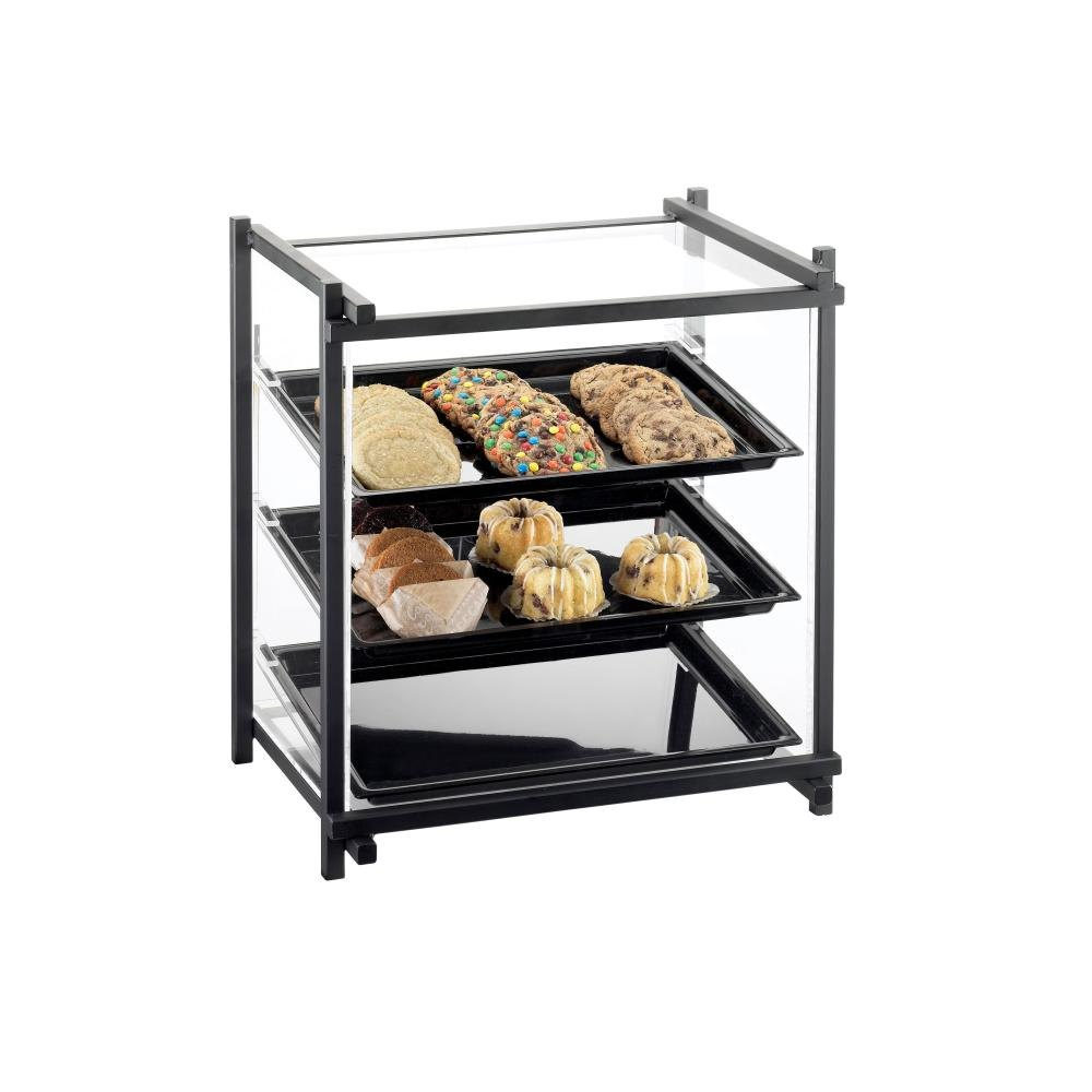 Cal Mil 1143-13 Black One By One Attendant Serve Pastry Display Case – 16 1/2 inch x 14 inch x 22 inch